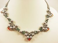 Pearl Elegance Beadwork Necklace Jewellery Making Kit with SWAROVSKI® ELEMENTS Grey Amber & Green